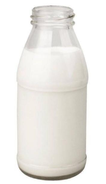 Bouteille de lait en verre.